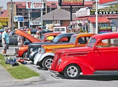 Hot Rods lined up at the Gatlinburg Rod Run 2013